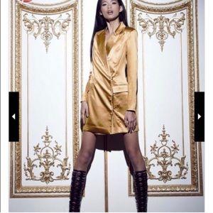 Missguided Gold Satin Tuxedo Blazer Dress